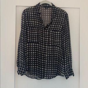 Club Monaco sheer button down plaid blouse